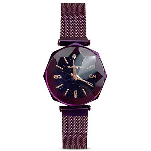 RORIOS Fashion Damen Analog Quarzuhr Armbanduhren Mesh Magnetband Sternenklarer Himmel Armbanduhr