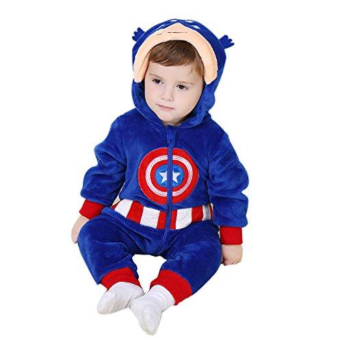 Weiche Captain America Pyjamas Kigurumi Unisex Baby Cosplay Onesie Kostüm Strampler (Groß (12 - 18 Monate (90 cm))