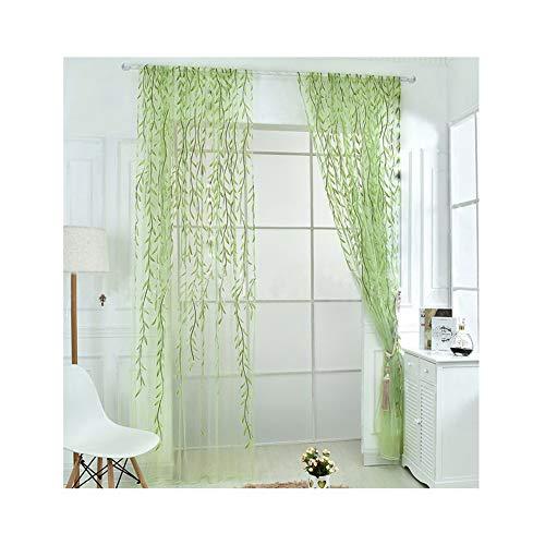 rely20162Stück grün Farbe willow Voile Tüll Raum Fenster Vorhang Lorbeer-Blatt Sheer Voile Panel Drapes Vorhang, lichtgrün, 100*270cm - Vorhänge Zwei Panel-grüne
