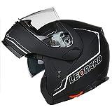 Leopard DVS Motorrad-/Mopedhelm mit hochklappbarer Vorderseite und doppeltem Visier