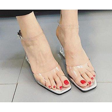 SANMULYH Scarpe Donna Gel Di Silice Primavera Estate Della Pompa Base Comfort Sandali Chunky Tacco Per Casual Nero Argento Argento