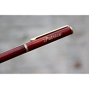 Personalisiert Kugelschreiber, dunkelrotes Holz und goldener Text, gravierter Stift, personalisiertes Geschenk für Hochzeit, Geburtstag, Weihnachten