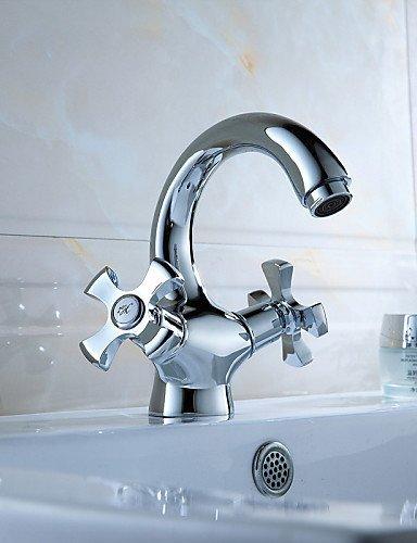 Preisvergleich Produktbild BL @ Deck montiert Dual ein Loch Griff Waschbecken Wasserhahn massivem Messing Chrome Finish Waschbecken Mixer Wasserhahn 1080