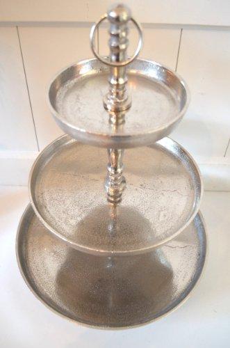 Etagere mit drei Böden aus Aluminium Metall rustikal shabby antik silber !!!! Höhe ca. 40cm !!!!