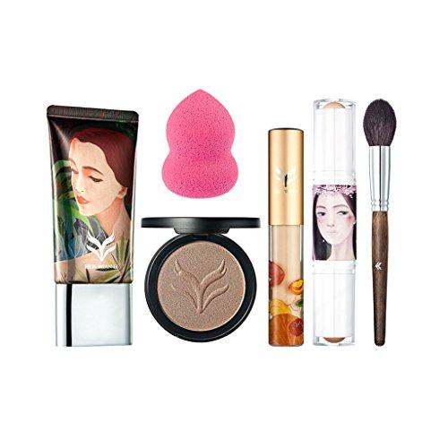 MagiDeal 6 en 1 Kit Outil de Maquillage Cosmétique Palette Poudre de Contour + Crème Fondation Liquide + Bâton Surligneur Anti-cernes + Puff Eponge + Correcteur + Pinceau de Maquillage