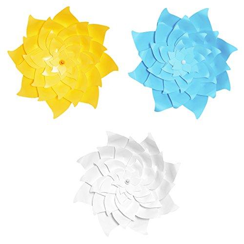 OULII El molino de viento 3pcs los 30CM simuló el palillo de la decoración de la pared de la flor de papel 3D para la decoración casera del partido (azul claro + blanco + amarillo)