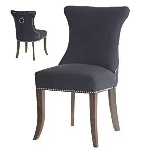 Studded Dining Chairs With D Rings Luxurious Fabric Chairs With Metal Detai