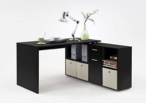 LEXA Corner Home Office Computer Desk Finished in Black(4 different build combinations)Complete with Natural Coloured canvas storage boxes