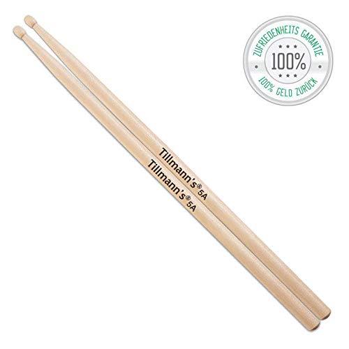 drumsticks kinder Drumsticks 5A | Aus Holz | 1 Paar klassische Schlagzeug Sticks | Liegen angenehm in den Händen| Drumsticks für Erwachsene & Kinder | Premiumqualität von Tillmann's Deutschland