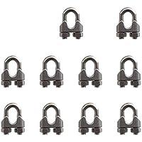 """SKKXY 10 piezas M3 acero inoxidable 1/8""""/3 mm cuerda de alambre de acero Abrazadera de cable U perno Sillín Cierre"""