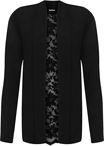 Wearall Women's Plus Long Sleeve Floral Lace Back Cardigan Ladies New Open Top Stretch 14-28