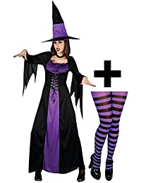 Spellbound Witch + Tights Ladies Halloween Fancy Dress Adults Womens Costume New