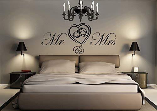 Herr und Frau Herz und Ringe Verlobung Hochzeit Liebe Verlobung 120 cm Breit X 50 cm (Nachricht mit Farbe Erforderlich) Hoch Kinderzimmer Baby Kinder Schlafzimmer Wanddekoration Aufkleber Bild -