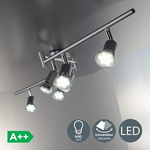 Serie Fünf Licht Wand Leuchte (LED Deckenleuchte I Deckenspot I Deckenlampe I inkl. 6 x 3W 250LM GU10 Leuchtmittel I Wohnzimmerlampe I IP20)