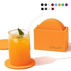 chillify Filz-Untersetzer 8er Set für Getränke/Gläser mit Aufbewahrungs-Box - Rutschfester hitzebeständiger waschbarer Glasuntersetzer - Rund, Orange, 10cm - absorbierend Becher, Bier, Tisch, Bars