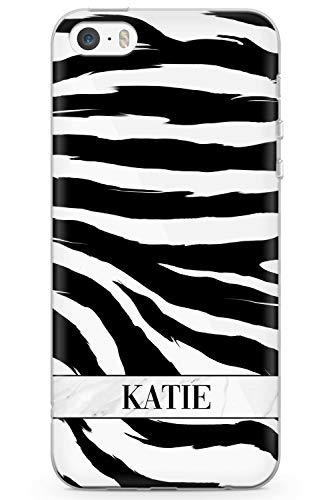 Case Warehouse iPhone 5 / 5s / SE Persönliche Namen Schwarzer Zebra-Druck Schutz Gummi Handyhülle TPU Bumper Tierdruck Katze Wild Zebra Gepard -