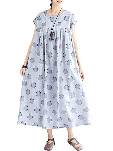 Dot Robe (Romacci Frauen Sommer lose Kleid Punkt Druck Kurzschluss-Hülsen-Roben übergroße Boho-Weinlese-Baumwollbeiläufiges Kleid)