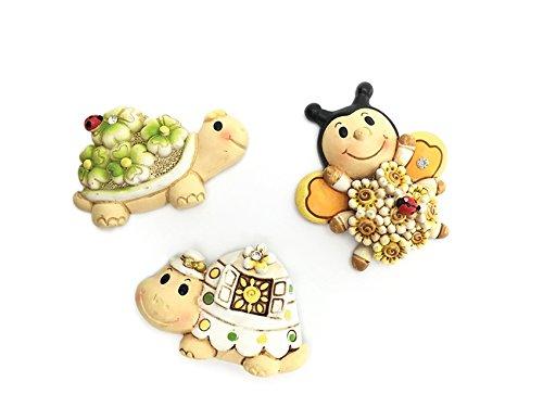 Dlm26560 (kit 12 pezzi) calamita magnete animali animaletti tartaruga ape portafortuna xd1445 bomboniera