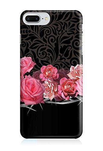 COVER Blume floral pink Rosen auf schwarz Design Handy Hülle Case 3D-Druck Top-Qualität kratzfest Apple iPhone 7