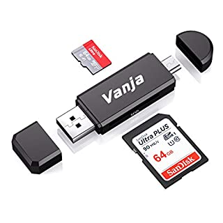 Vanja Micro USB OTG Adapter and USB 2.0 Portable Memory Card Reader for SDXC, SDHC, SD, MMC, RS-MMC, Micro SDXC, Micro SD, Micro SDHC Card and UHS-I Card