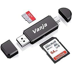 Vanja Lecteur de Carte Mémoire, SD/Micro SD Lecteur de Carte et Micro USB OTG à USB 2.0 Adaptateur avec Standard USB Micro USB Connecteur pour PC, Notebook et Smartphone avec Fonction OTG