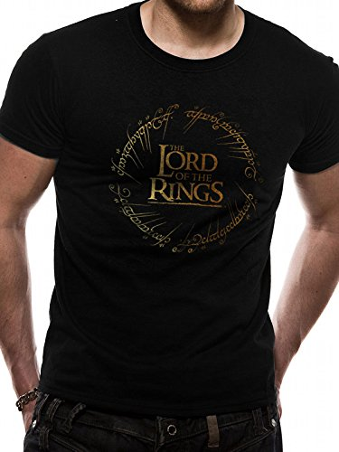 CID Herren Lord of The Rings - Gold Foil Logo T-Shirt, Schwarz (Black Black), XX-Large (Herstellergröße: Ex Ex Large)