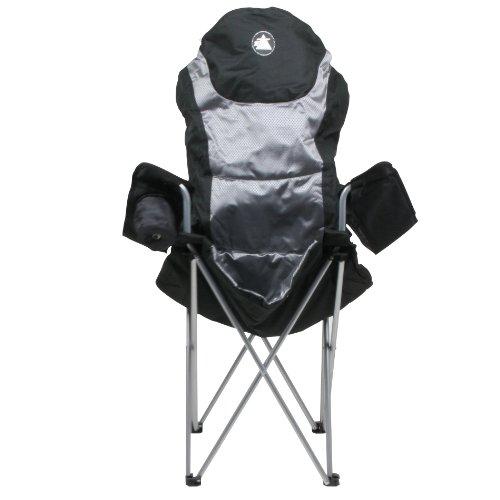 10T Lightboy - Faltbarer XXL Camping-Stuhl mobiler Hochlehner Maxi Polster-Sitzfläche Getränkehalter - 10