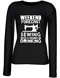 T-Shirt para Las Mujeres Manga Larga Negra WES1081 Weekend Forecast Sewing with A Chance