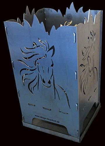 Design Feuerkorb Feuerschale aus Stahl Pferd 40x40x80