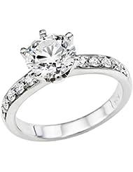 Klassischer 18 Karat (750) Weißgold Solitär Verlobung Diamant Damenring Brilliantschliff 3/4 Karat