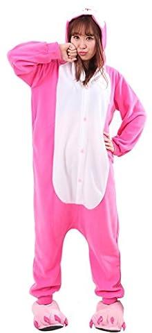 Honeystore Jumpsuit Tier Cartoon Häschen Fasching Halloween Kostüm Sleepsuit Hase Cosplay Pyjama Schlafanzug (Selbst Gemachte Anime-kostüme)