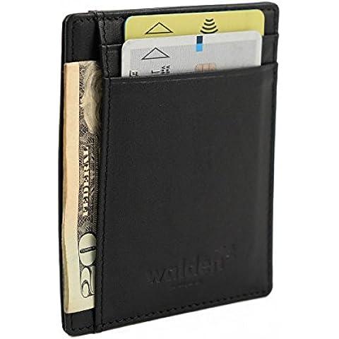 Delgada cartera de cuero de Walden para hombres y mujeres. Organizador de tarjetas negro con bloqueo RFID, 4 huecos para tarjetas de crédito y 1 para dinero/billetes. Ideal para trabajar y