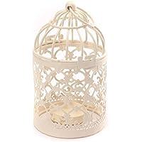 Decoración de mesa de metal en forma de jaula para hogar LAAT, para luz LED, Navidad, boda, faroles, portavelas, vela flotante de 8cm x 14cm