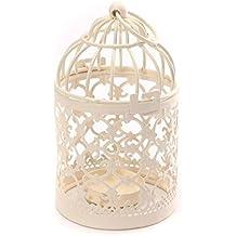 Westeng Hierro Hollow Candelabro Birdcage Metal Tealight Linternas Casamiento Creative Birdcage Decoración De La Tabla,1pcs Blanco