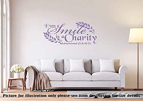 Even a Smile is a charity - Muhammad(SAWA) -Islamische Wand zitieren Hadith Muslim Room Decor abnehmbare Vinyl Wandkunst Aufkleber islamische Wandkunst Aufkleber