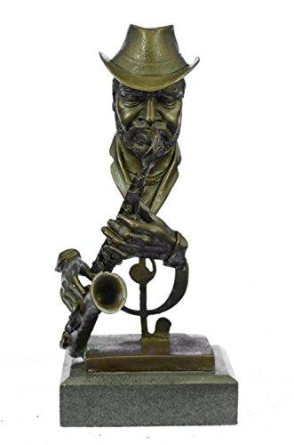 Sax-spieler (Handmade Bronze Skulptur Bronze Statue Sax Saxophon-Spieler Salutes Jazz signiert und Motown -Ukyrd-756- Decor Sammler Geschenk)