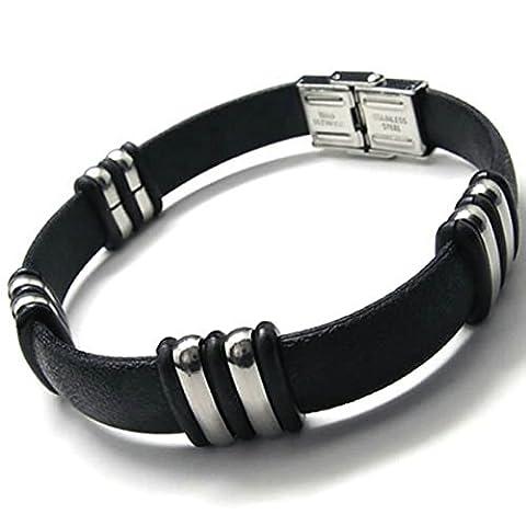 Adisaer Womens Mens Stainless Steel Bracelets Silver Black Leather 8.8 IN Length 1.4CM Width