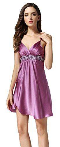Maedchen Schlafkleid Spitze Morgenmantel Nachtkleid Empire Taile Violett M (Empire Nightgown)
