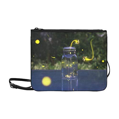 SHAOKAO Viele Glühwürmchen, die in den Fores-Mustern fliegen Benutzerdefinierte hochwertige Nylon-dünne Clutch-Tasche Umhängetasche mit Umhängetasche -