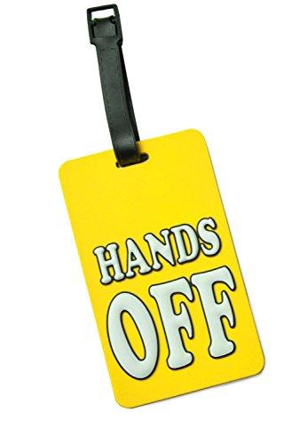 offeranhänger inklusive Adressfeld, Kofferschild aus Kunststoff, Gepäckschild für Koffer Tasche Rucksack, 10,2 cm x 6,2 x 0,4 cm, Farbe: Hands off Gelb ()