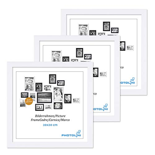 PHOTOLINI 3er Set Bilderrahmen 20x20 cm Modern Weiss aus MDF mit Acrylglas/Portraitrahmen/Wechselrahmen