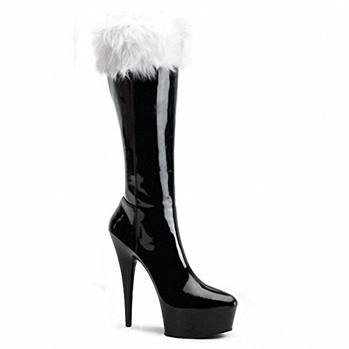 Botas Largas Mujer Cuero Súper Tacones Night Club Dance Pl ¨ ¹ Y Crystal Christmas Performance Red Black Zapatos, 5-35 4-35