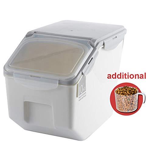 Contenedor de alimentos,Baffect caja de almacenamiento para alimentación animal, alimento para perros alimento para gatos recipiente de barril envase de comida seca recipiente de almacenamiento hermético, pequeño 4-6kg, gris