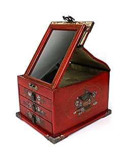 Farang miroir chinois poitrine/Boîte à bijoux–3tiroirs