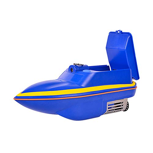FISH-MAN Fishing Bait Boat, Rc Ship Remote Control Intelligent Wireless, Detecting Group Night Searchlight Toys, Fishing Big Mouth Squid. 500m Control,Blue