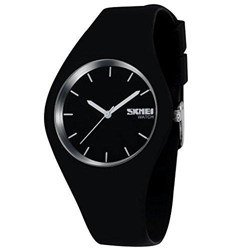 Gosear Wasserdicht Männer Frauen Lässige Sport Silikon Quarz Handgelenk Uhr Armbanduhr Schwarz (Uhren Sport Männer)