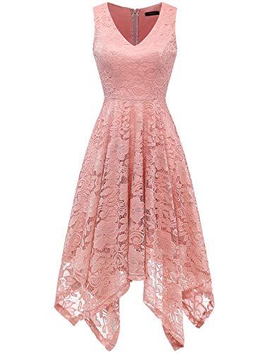 Meetjen Damen Elegant Cocktailkleid V-Ausschnitt Spitzenkleid Unregelmässig Taschentuch Saum Festlich Partykleid Blush XL
