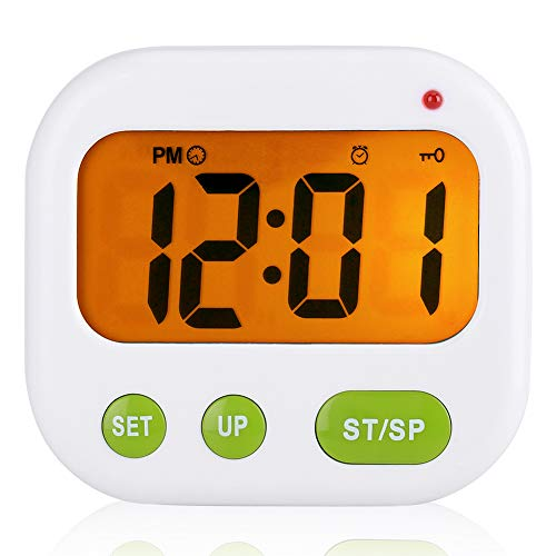 Despertador Digital LCD Reloj de Vibración con Pilas Reloj de Temporizador Portátil Moderno con Retroiluminación...