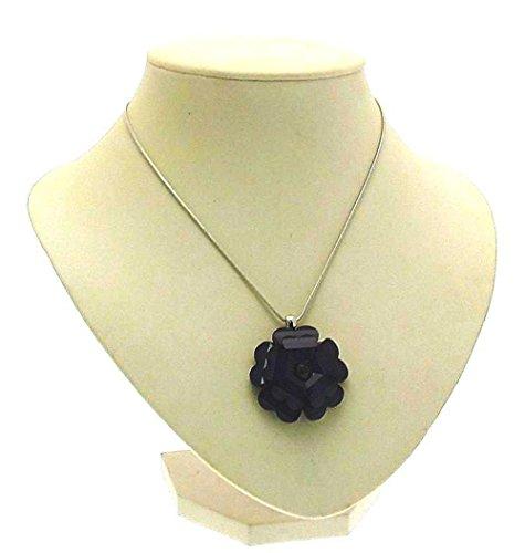 Damen Fashion Halskette auf weiß farbigen Metall Kette und Blau Kunststoff Floral Design Anhänger 13622Lenkradhülle