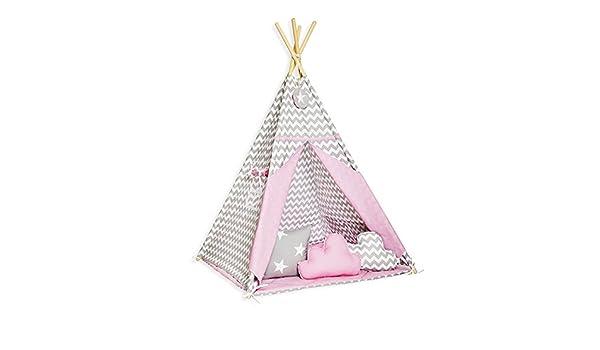 FUNwithMUM Teepee Tipi De Jue Tente Pour Enfants Indian Maison Jardin Tapis 100x100x150 cm Coton Candy Star